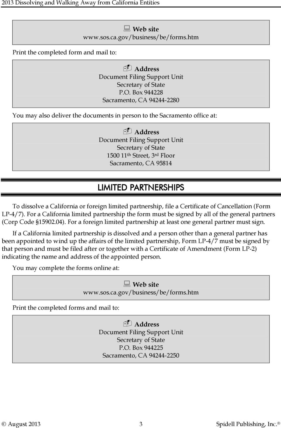 2013 dissolving and walking away from california entities pdf sacramento ca 95814 limited partnerships to dissolve a california or foreign limited partnership file falaconquin