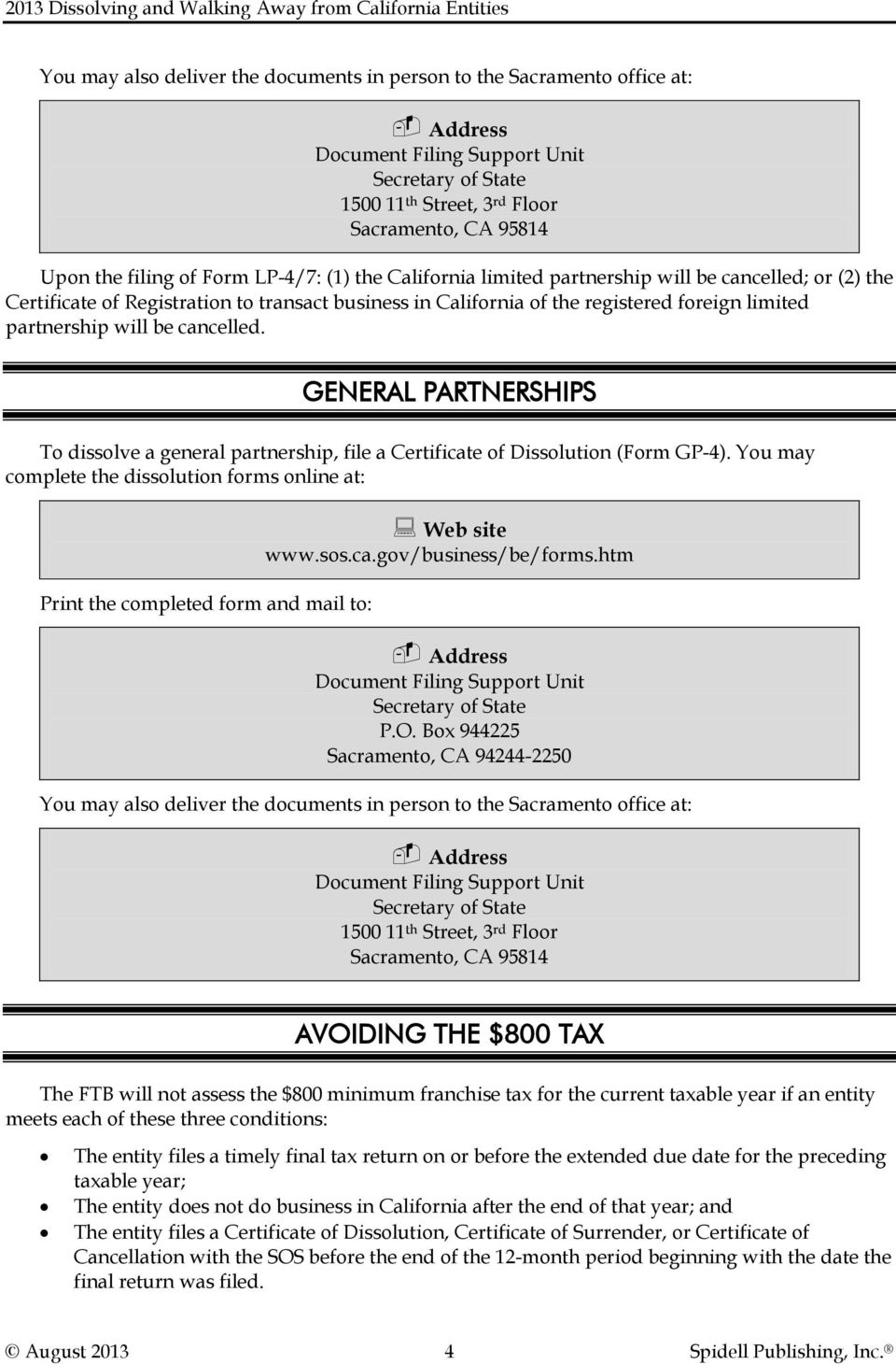 2013 dissolving and walking away from california entities pdf cancelled general partnerships to dissolve a general partnership file a certificate of dissolution falaconquin