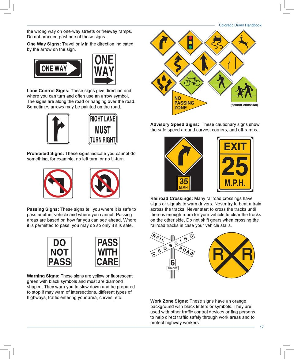Sometimes arrows may be painted on the road. Advisory Speed Signs: These cautionary signs show the safe speed around curves, corners, and off-ramps.