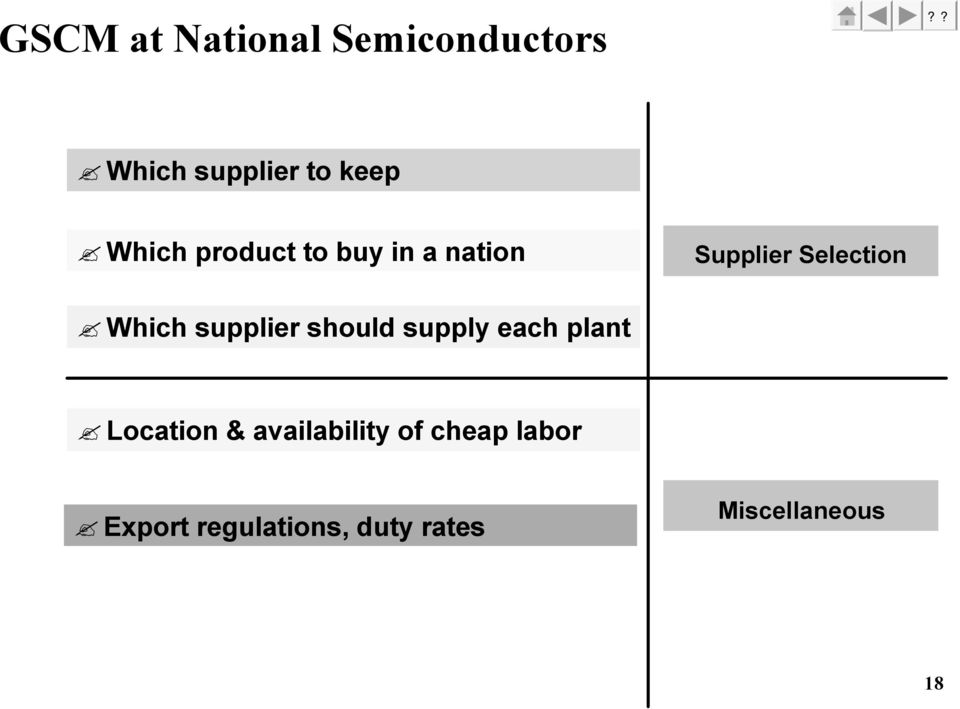 supplier should supply each plant Location & availability