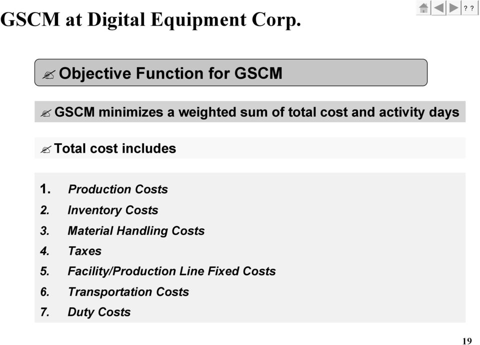 and activity days Total cost includes 1. Production Costs 2.