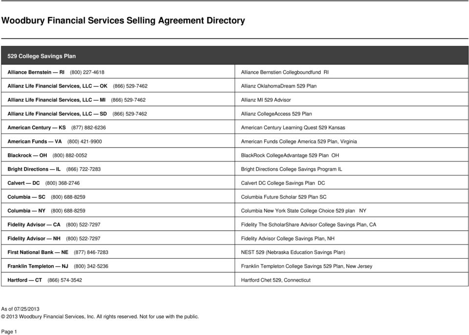 Woodbury financial services selling agreement directory pdf for 539 plan
