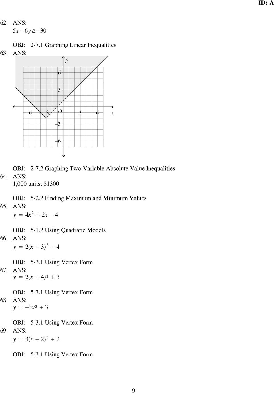 2 Finding Maximum and Minimum Values 65. ANS: y = 4x 2 + 2x 4 OBJ: 5-1.2 Using Quadratic Models 66.