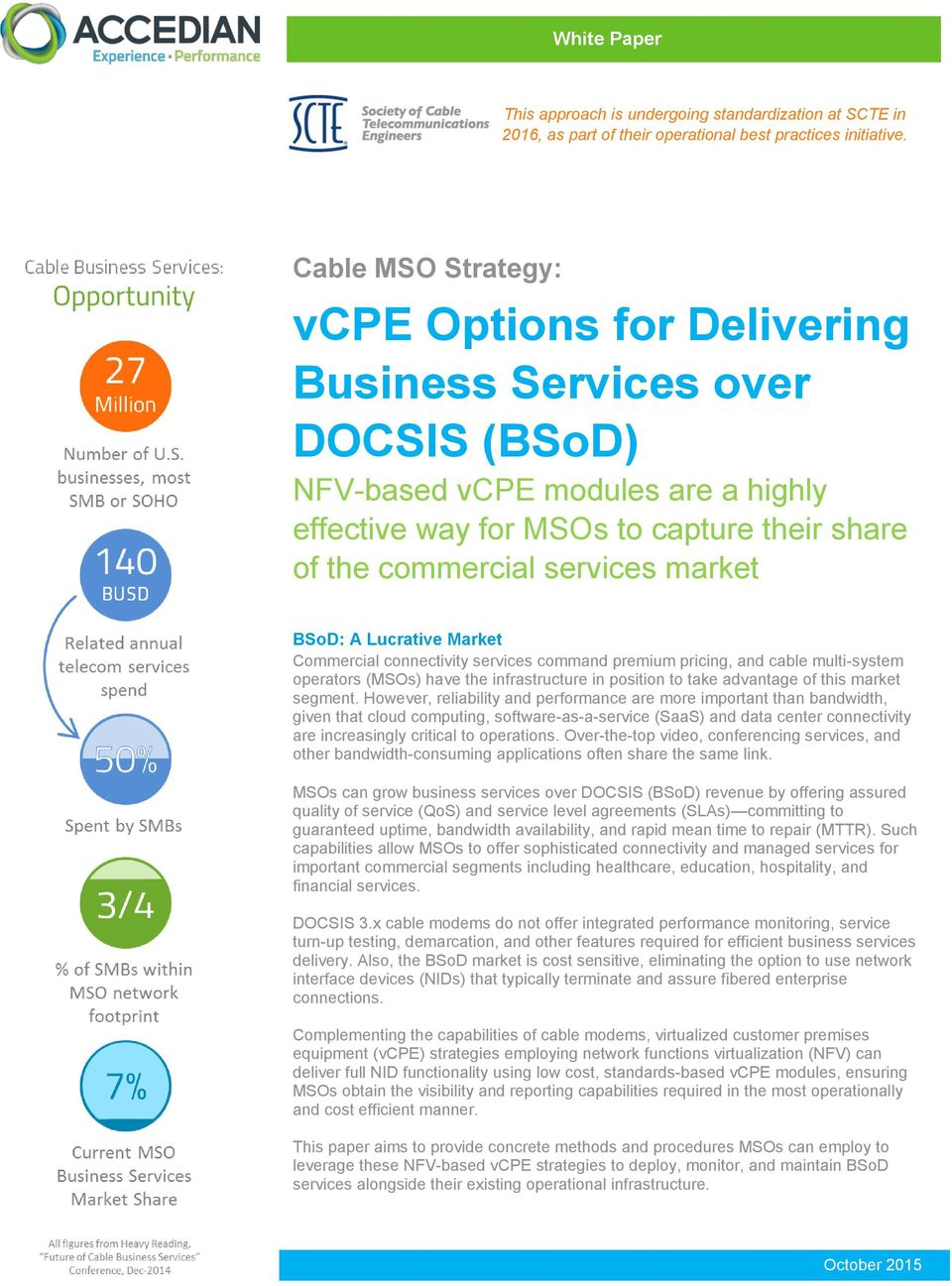 market ckhaul networks BSoD: A Lucrative Market Commercial connectivity services command premium pricing, and cable multi-system operators (MSOs) have the infrastructure in position to take advantage
