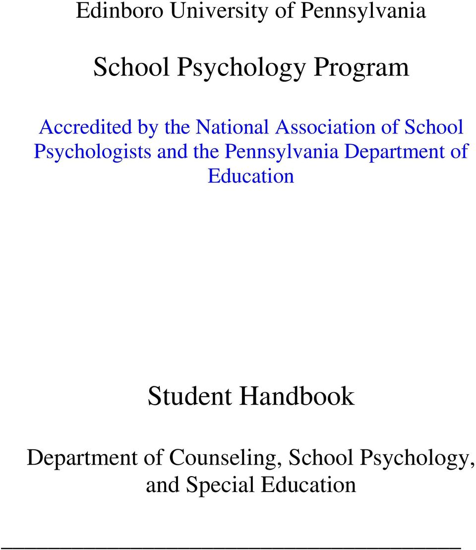 and the Pennsylvania Department of Education Student Handbook