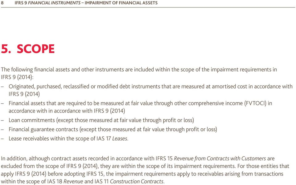 instruments that are measured at amortised cost in accordance with IFRS 9 (2014) Financial assets that are required to be measured at fair value through other comprehensive income (FVTOCI) in