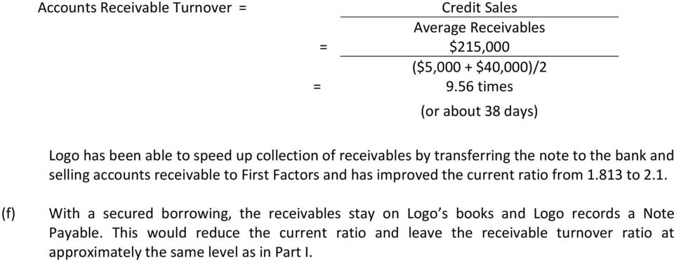 accounts receivable to First Factors and has improved the current ratio from 1.