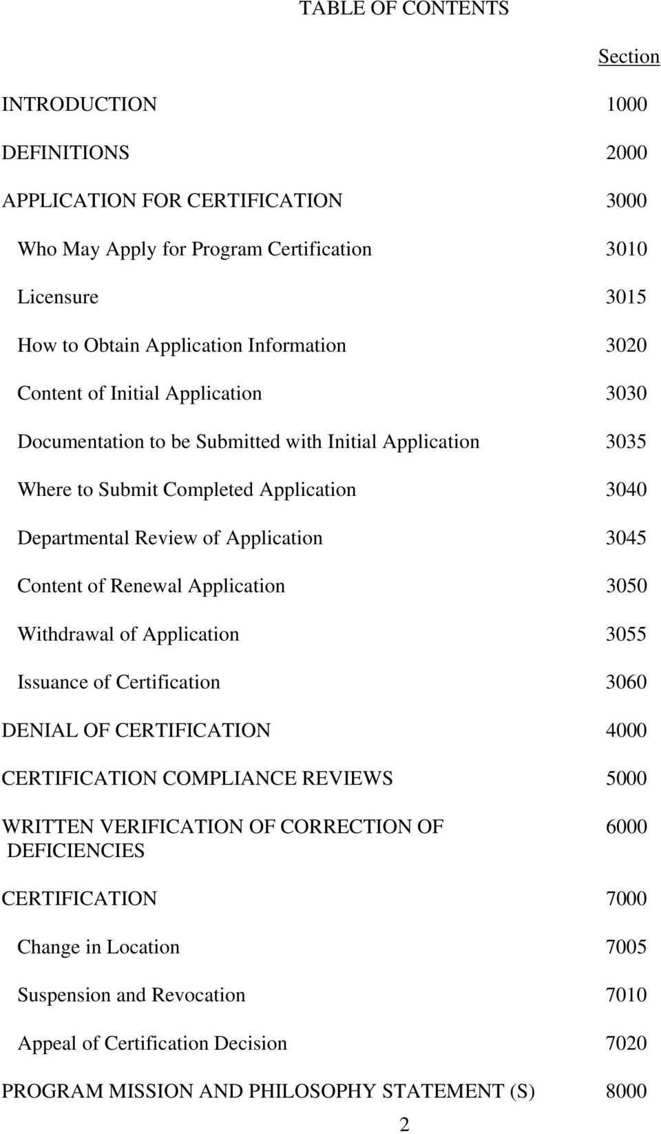 3045 Content of Renewal Application 3050 Withdrawal of Application 3055 Issuance of Certification 3060 DENIAL OF CERTIFICATION 4000 CERTIFICATION COMPLIANCE REVIEWS 5000 WRITTEN VERIFICATION