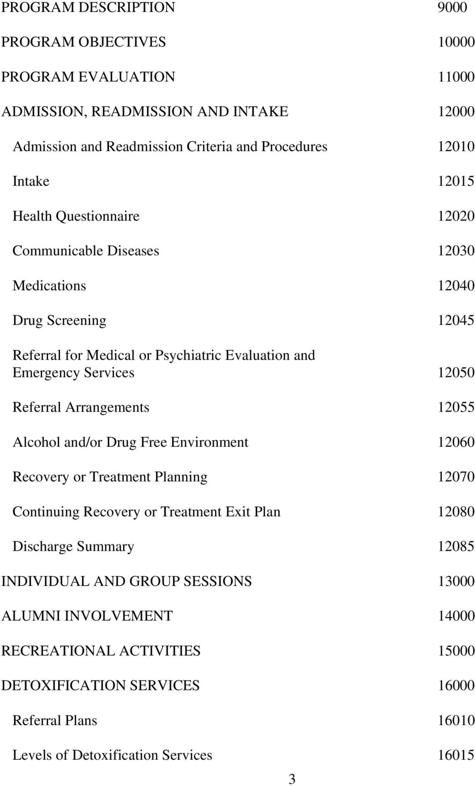 Referral Arrangements 12055 Alcohol and/or Drug Free Environment 12060 Recovery or Treatment Planning 12070 Continuing Recovery or Treatment Exit Plan 12080 Discharge Summary