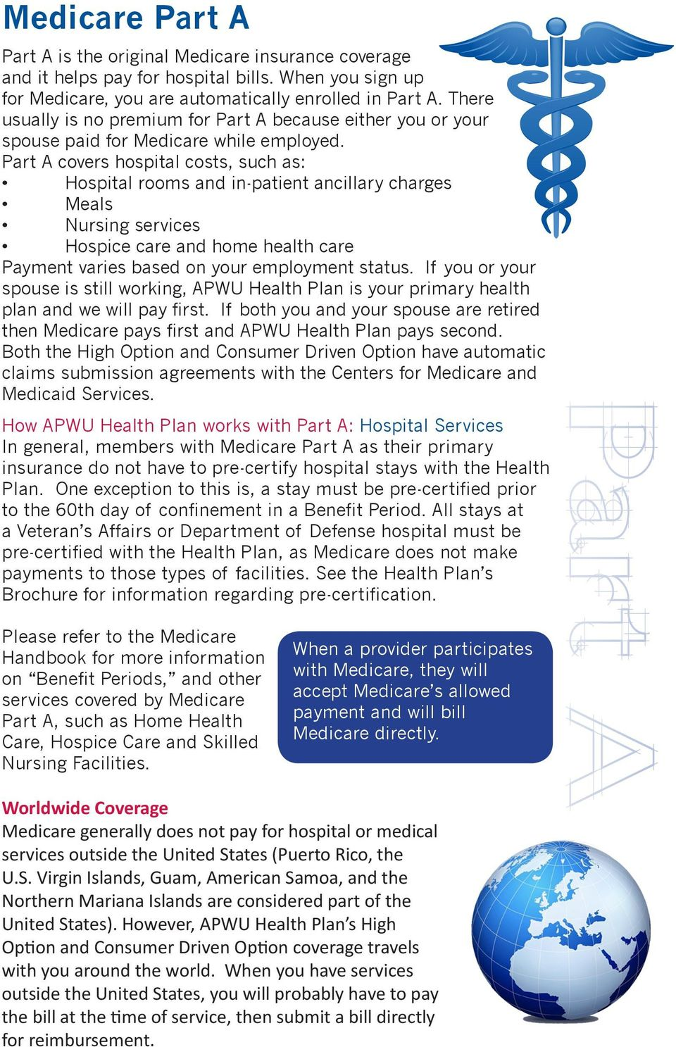 Part A covers hospital costs, such as: Hospital rooms and in-patient ancillary charges Meals Nursing services Hospice care and home health care Payment varies based on your employment status.