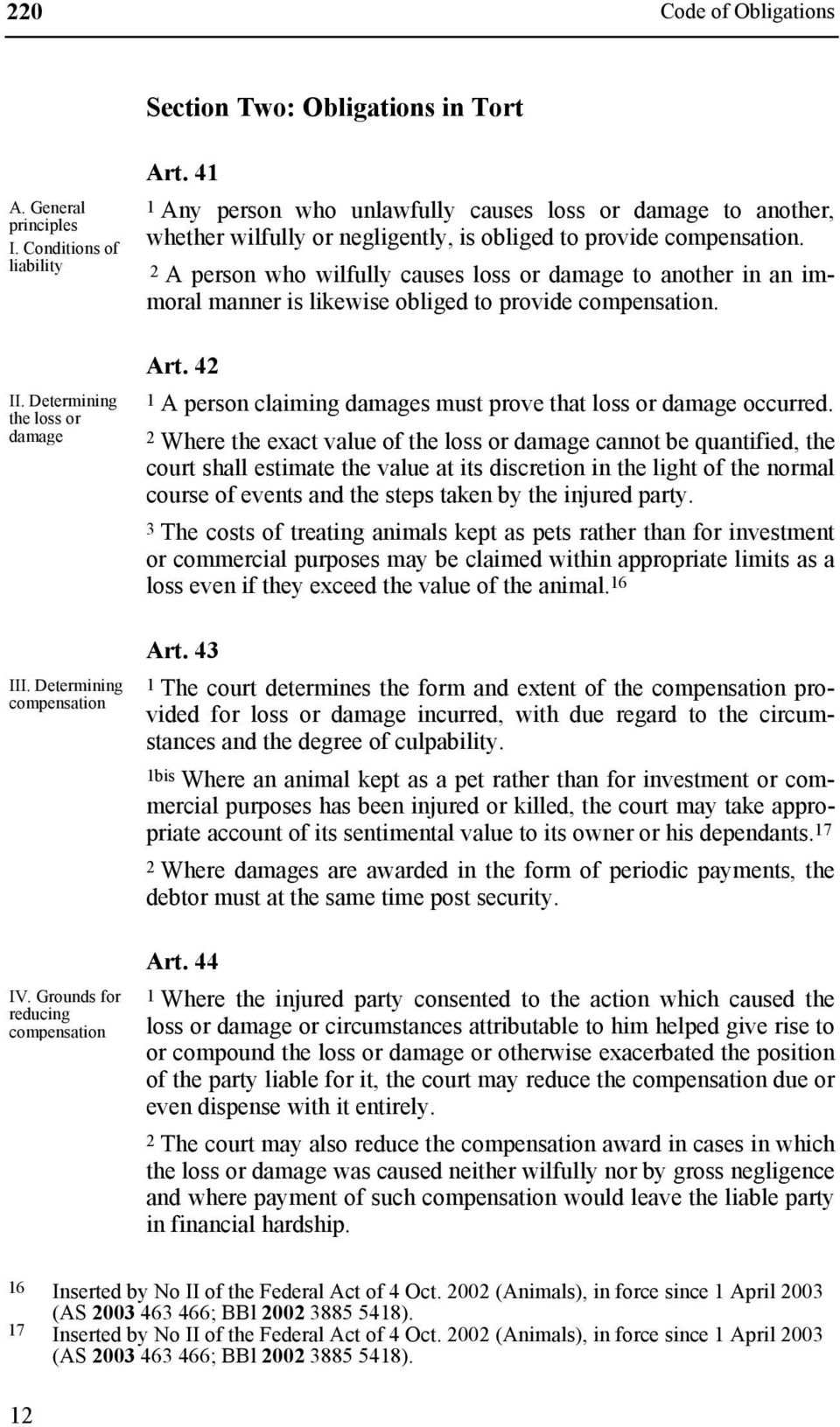 2 A person who wilfully causes loss or damage to another in an immoral manner is likewise obliged to provide compensation. Art. 42 1 A person claiming damages must prove that loss or damage occurred.