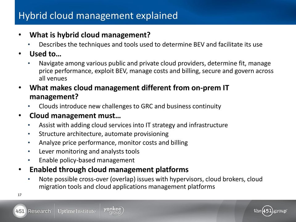 BEV, manage costs and billing, secure and govern across all venues What makes cloud management different from on-prem IT management?