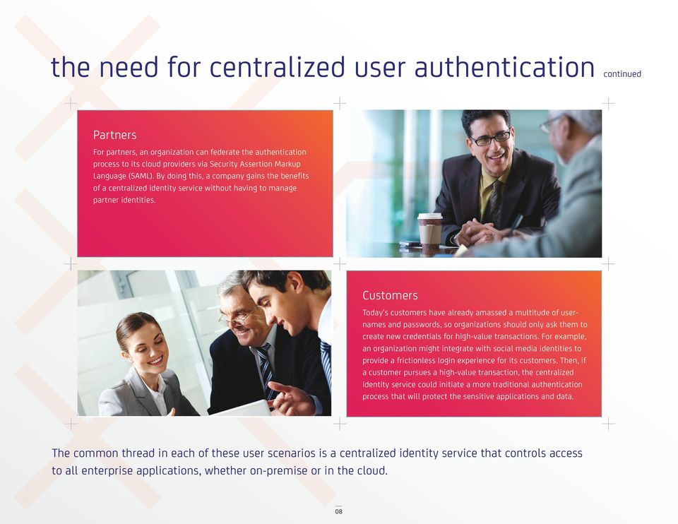 Customers Today s customers have already amassed a multitude of usernames and passwords, so organizations should only ask them to create new credentials for high-value transactions.