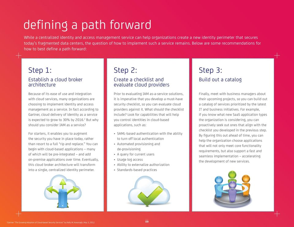 Below are some recommendations for how to best define a path forward: Step 1: Establish a cloud broker architecture Because of its ease of use and integration with cloud services, many organizations