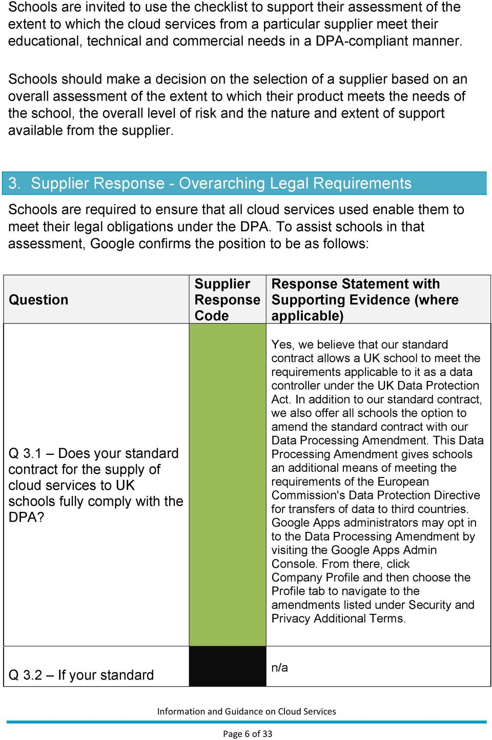 Schools should make a decision on the selection of a supplier based on an overall assessment of the extent to which their product meets the needs of the school, the overall level of risk and the