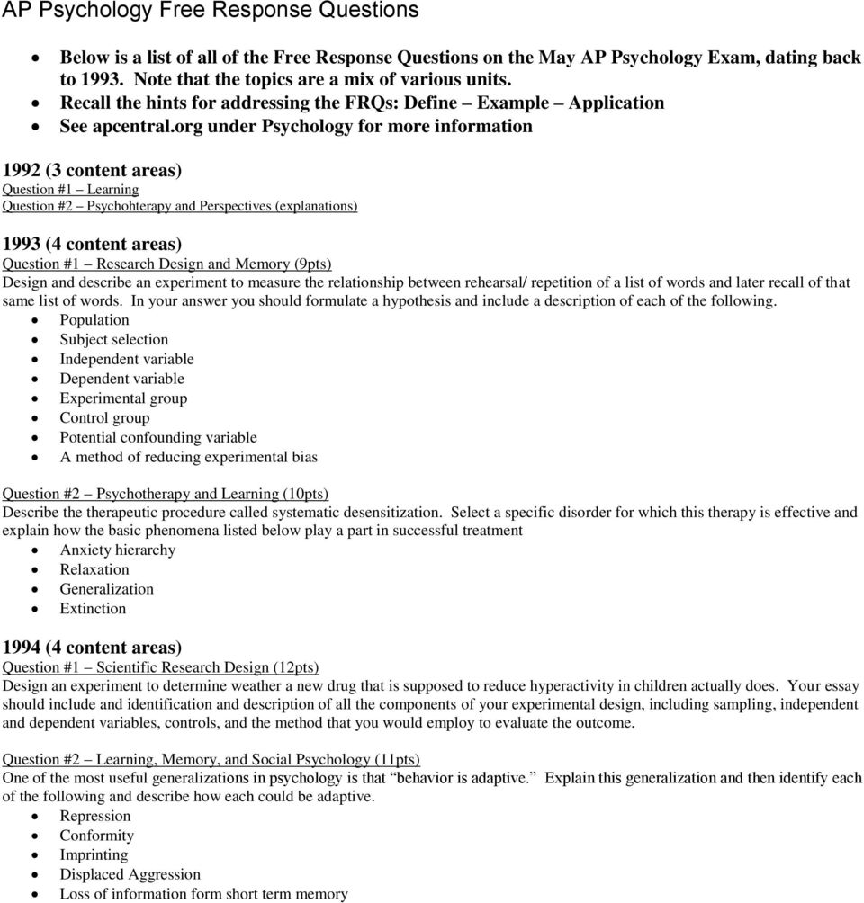 psychology free response questions Multiple choice and response questions in preparation for the ap psychology examination answers find multiple choice and free response questions in preparation for the ap psychology.