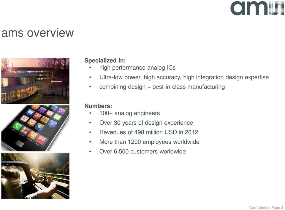300+ analog engineers Over 30 years of design experience Revenues of 498 million USD in