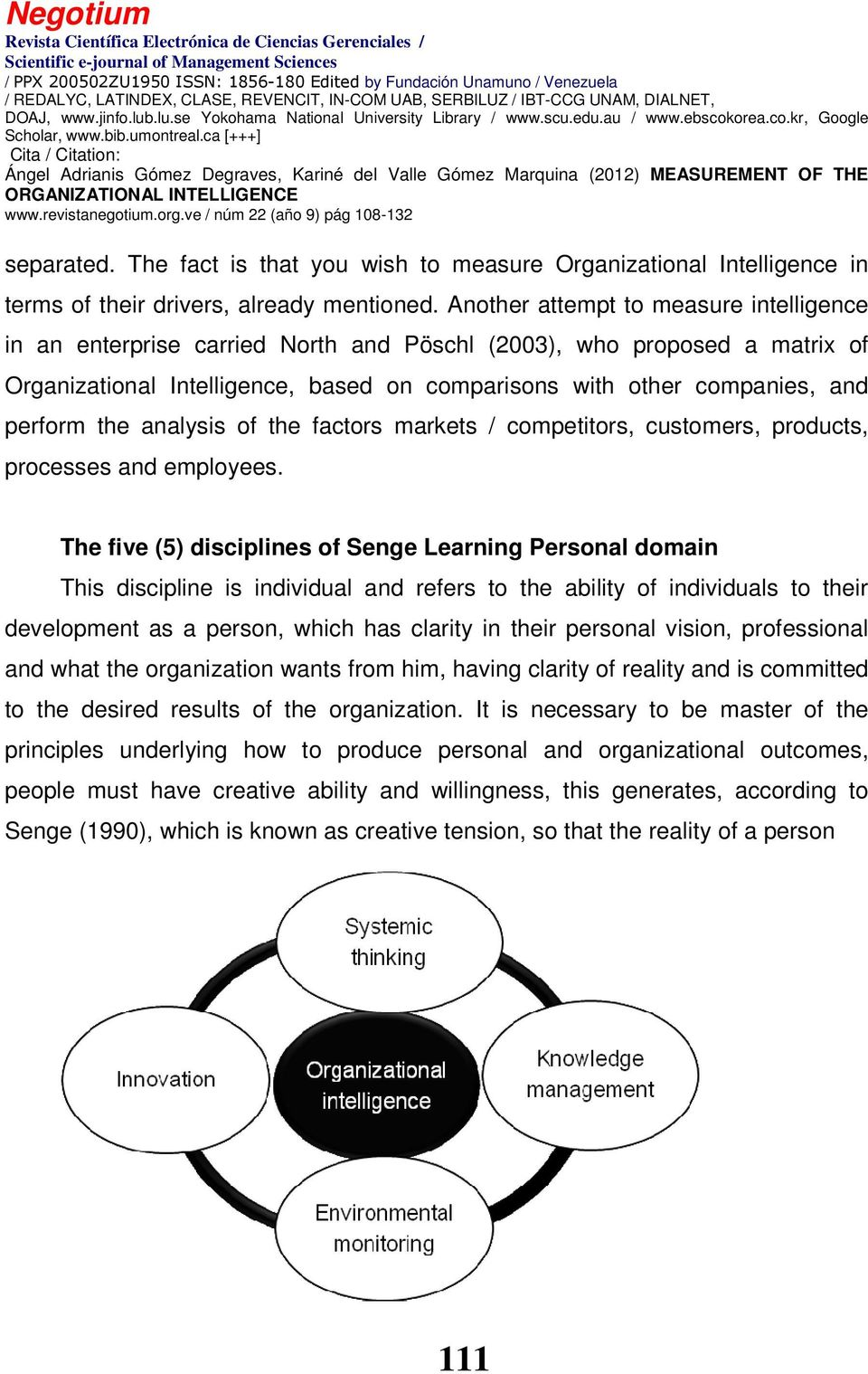 the analysis of the factors markets / competitors, customers, products, processes and employees.