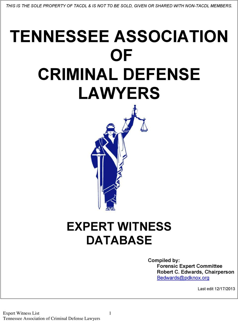 TENNESSEE ASSOCIATION OF CRIMINAL DEFENSE LAWYERS EXPERT WITNESS