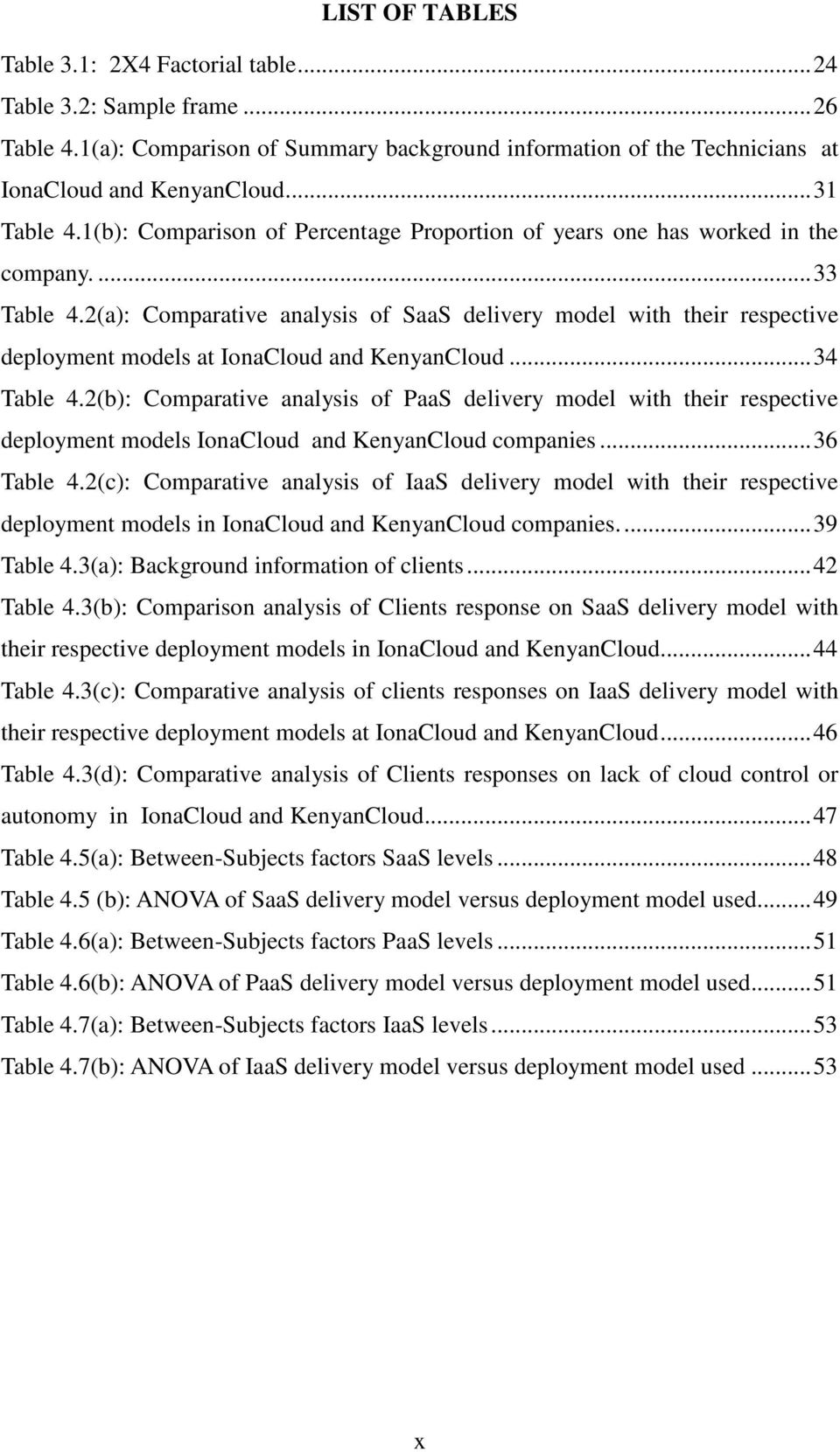 2(a): Comparative analysis of SaaS delivery model with their respective deployment models at IonaCloud and KenyanCloud...34 Table 4.
