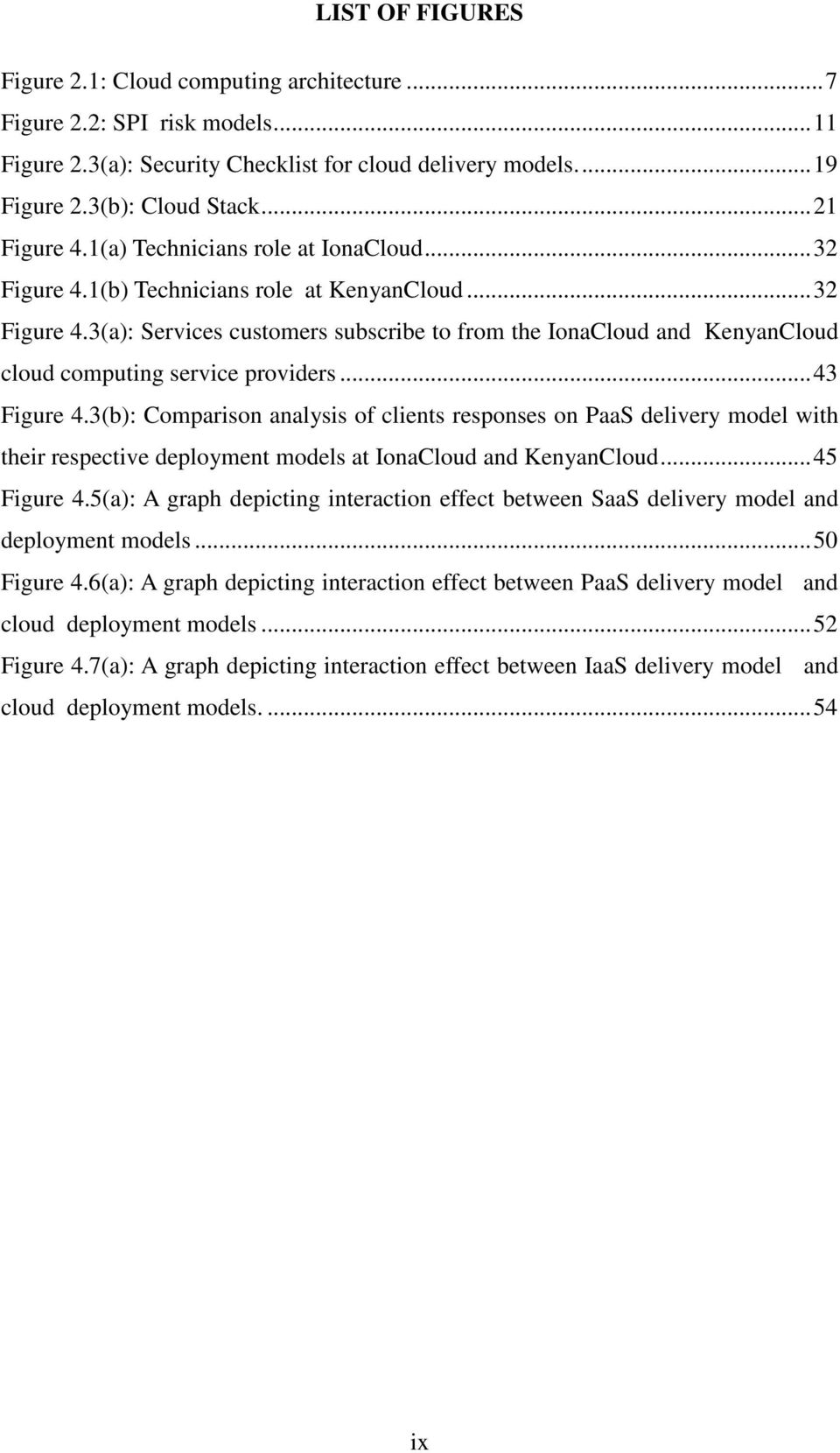 ..43 Figure 4.3(b): Comparison analysis of clients responses on PaaS delivery model with their respective deployment models at IonaCloud and KenyanCloud...45 Figure 4.