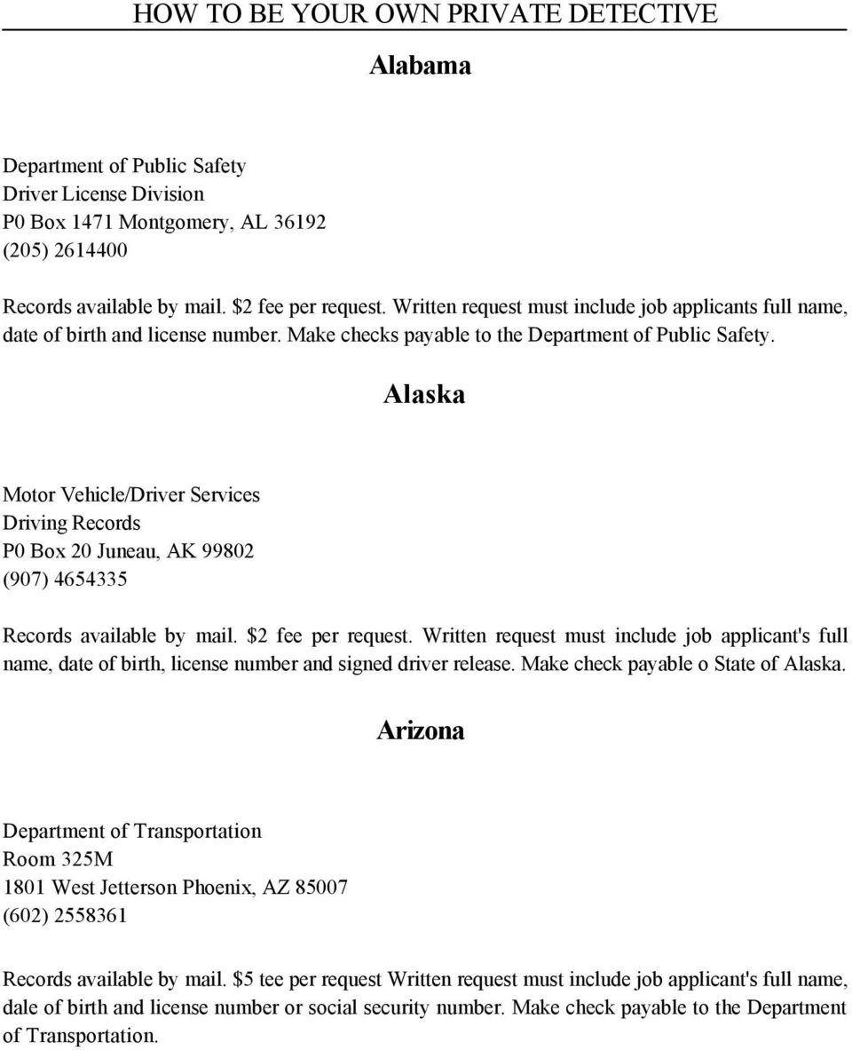Alaska Motor Vehicle/Driver Services Driving Records P0 Box 20 Juneau, AK 99802 (907) 4654335 Records available by mail. $2 fee per request.
