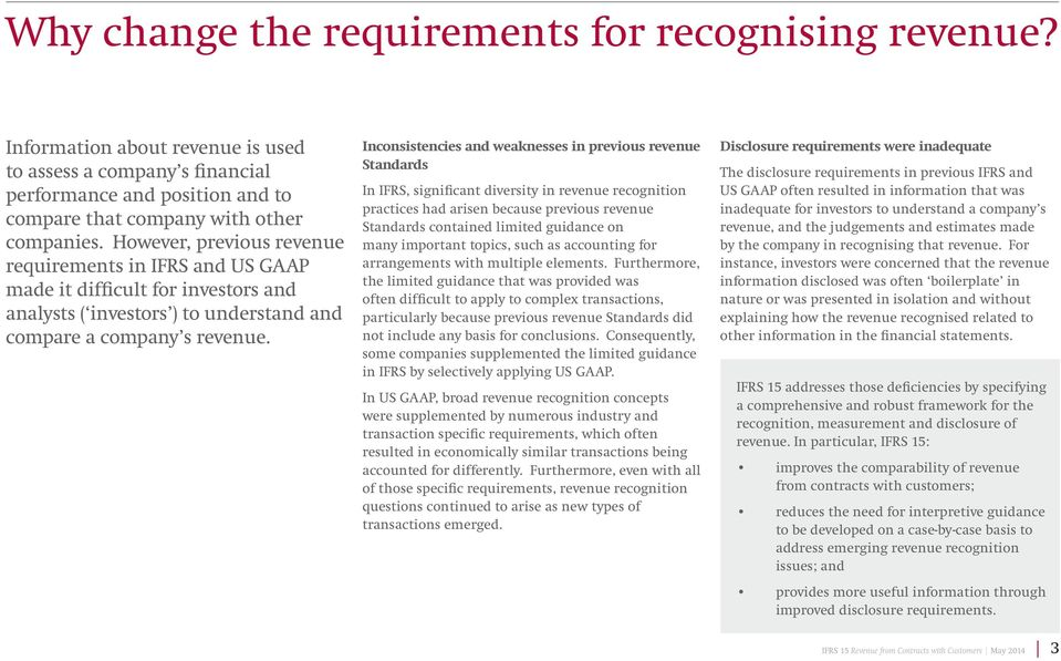 Inconsistencies and weaknesses in previous revenue Standards In IFRS, significant diversity in revenue recognition practices had arisen because previous revenue Standards contained limited guidance
