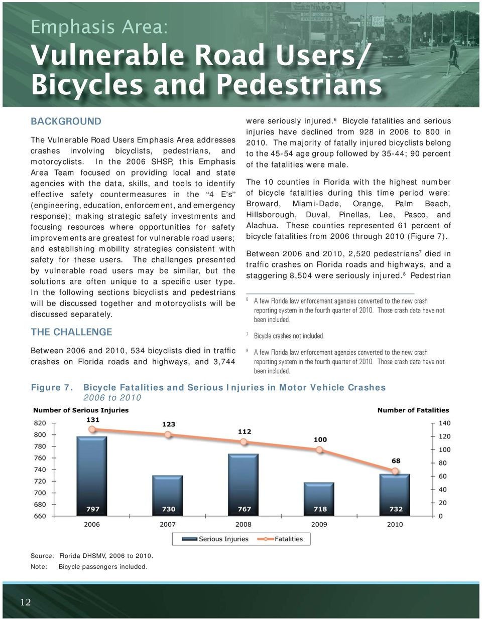 education, enforcement, and emergency response); making strategic safety investments and focusing resources where opportunities for safety improvements are greatest for vulnerable road users; and