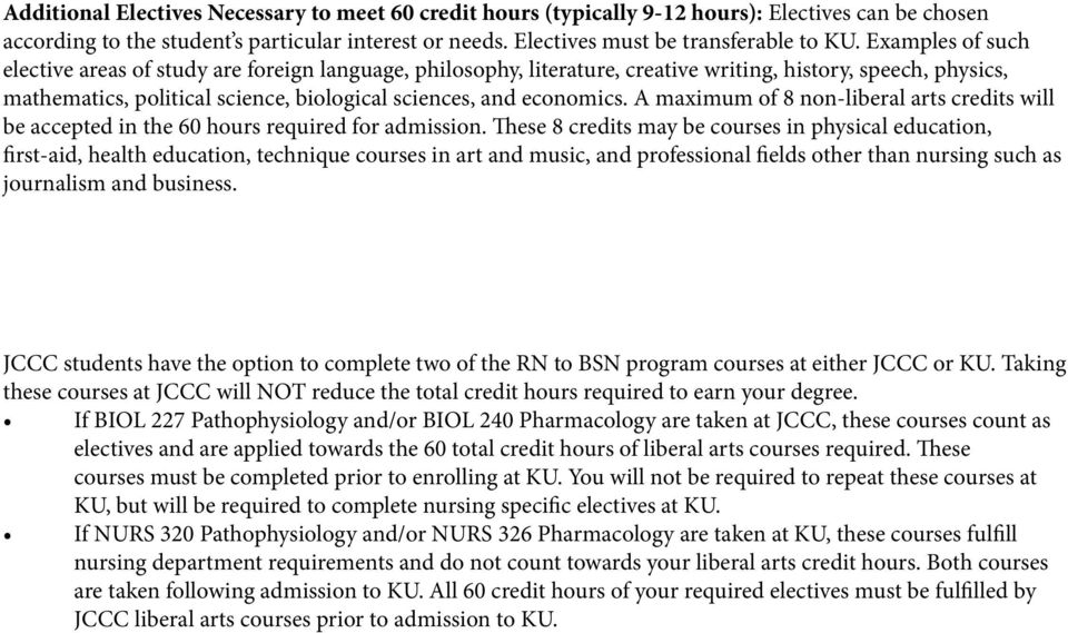 A maximum of 8 non-liberal arts credits will be accepted in the 60 hours required for admission.