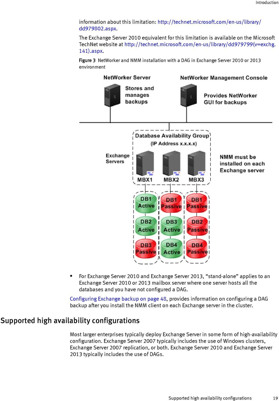 Figure 3 NetWorker and NMM installation with a DAG in Exchange Server 2010 or 2013 environment For Exchange Server 2010 and Exchange Server 2013, stand-alone applies to an Exchange Server 2010 or