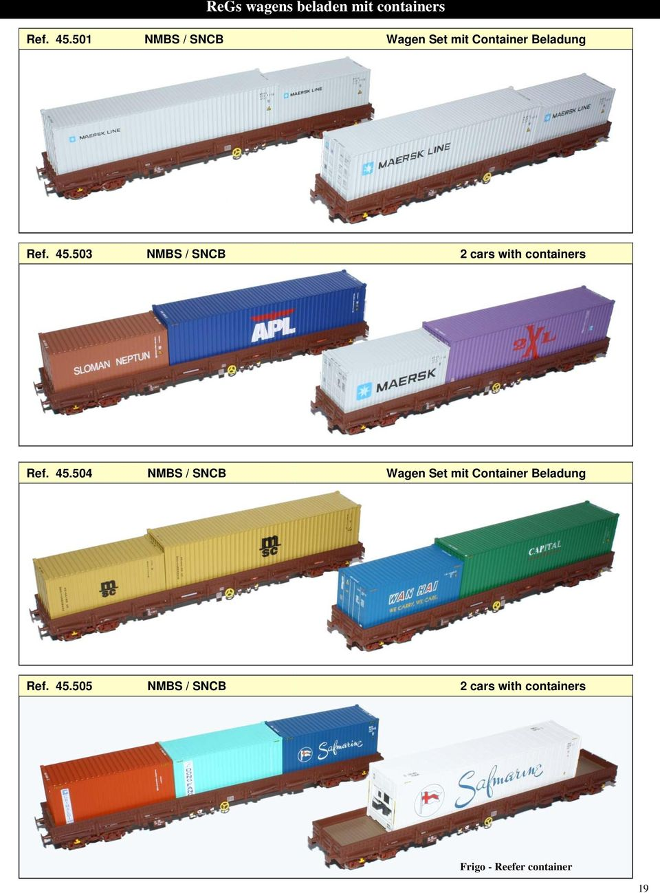 503 NMBS / SNCB 2 cars with containers Ref. 45.