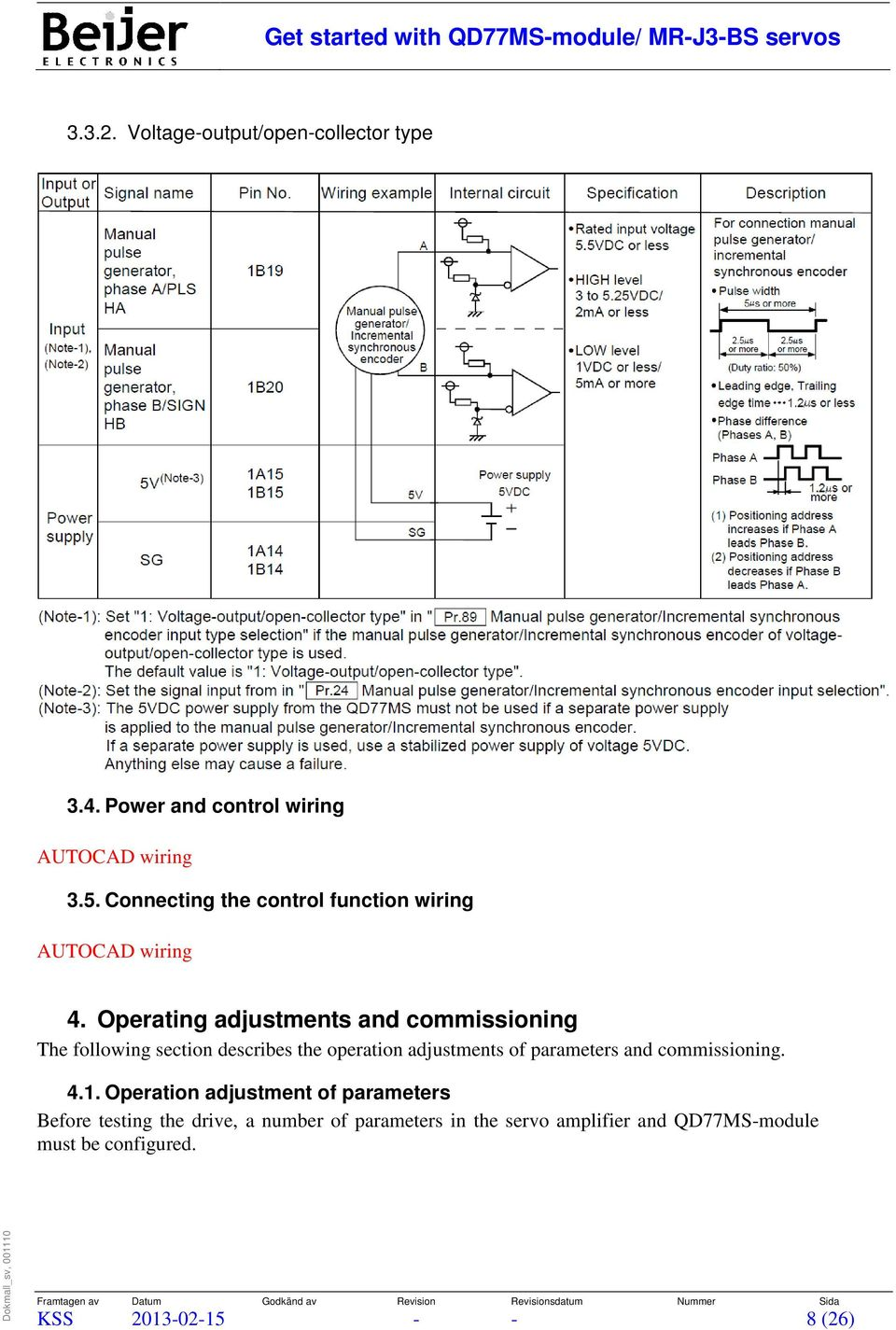 Operating adjustments and commissioning The following section describes the operation adjustments of parameters