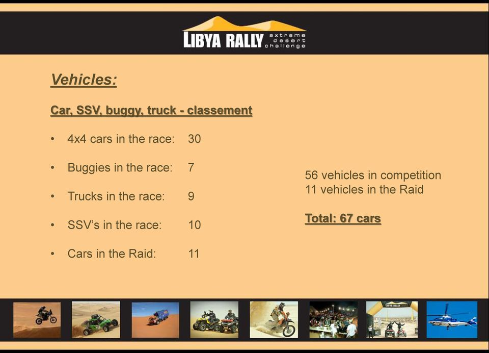 race: 9 SSV s in the race: 10 56 vehicles in
