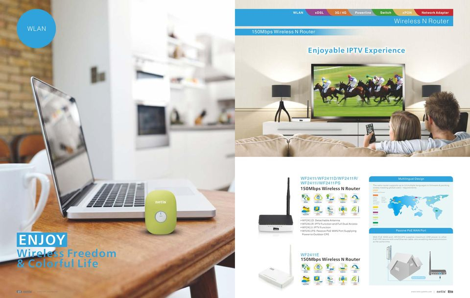 Traditional Chinese Repeater WDS Czech French Italian Portugese Romania Dutch German Polish Hungary Turkish QoS Russian ENJOY Wireless Freedom & Colorful Life WF11D: Detachable Antenna WF11R: