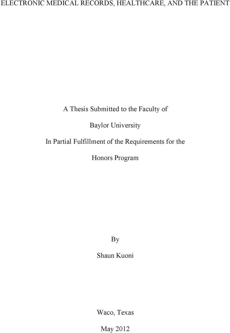 University In Partial Fulfillment of the