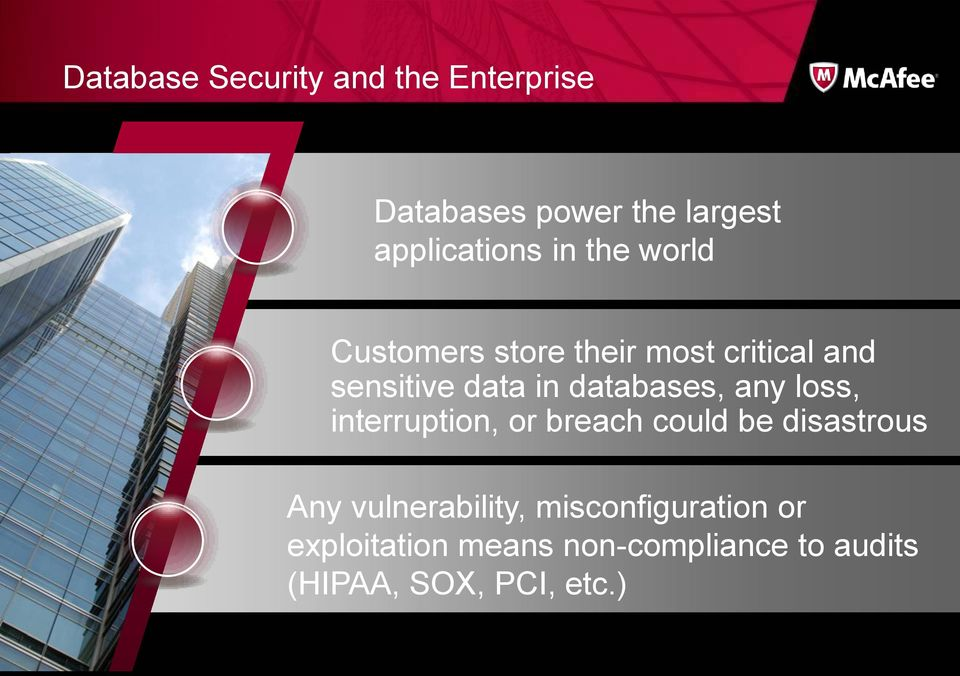 databases, any loss, interruption, or breach could be disastrous Any