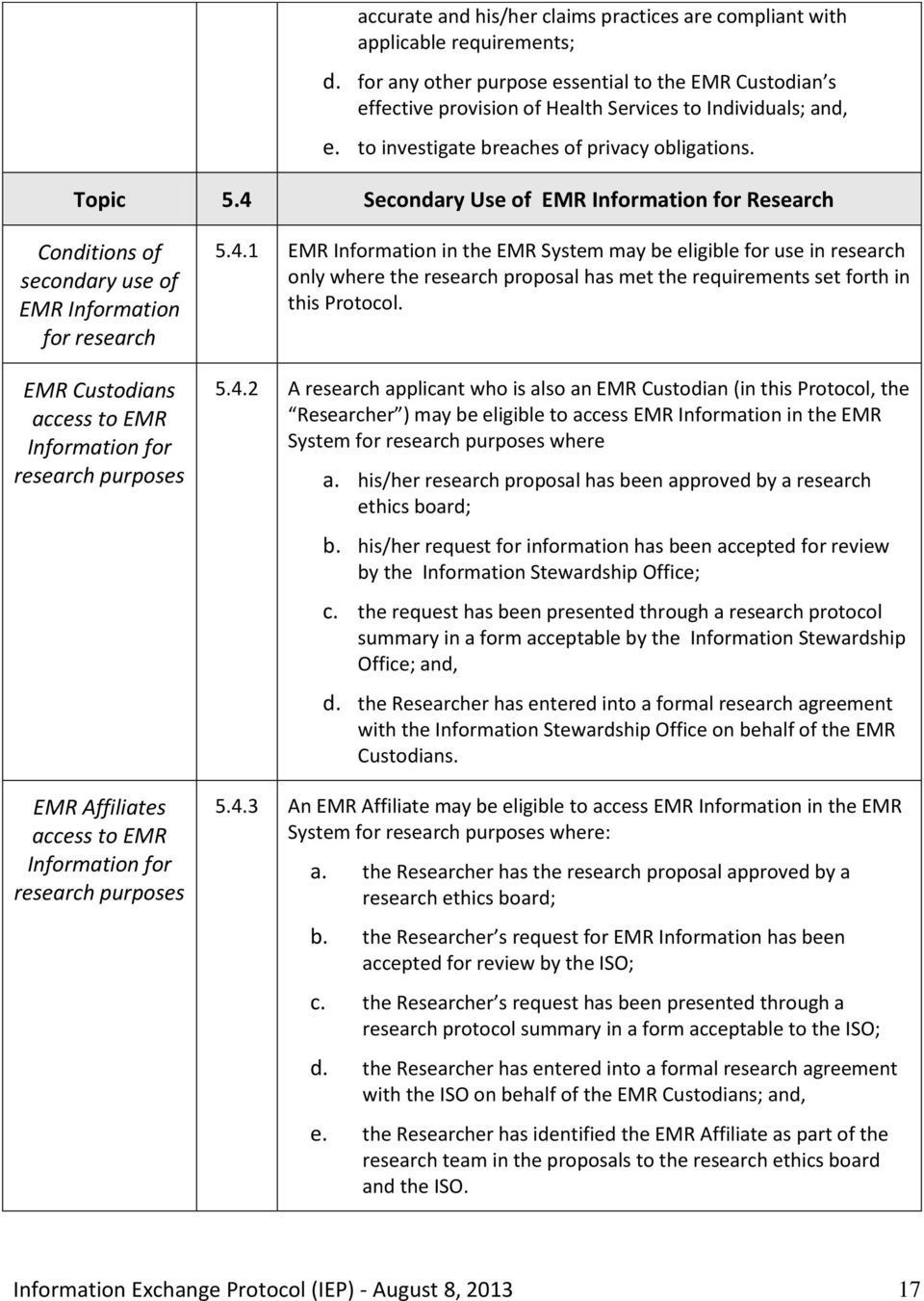 4 Secondary Use of EMR Information for Research Conditions of secondary use of EMR Information for research EMR Custodians access to EMR Information for research purposes EMR Affiliates access to EMR