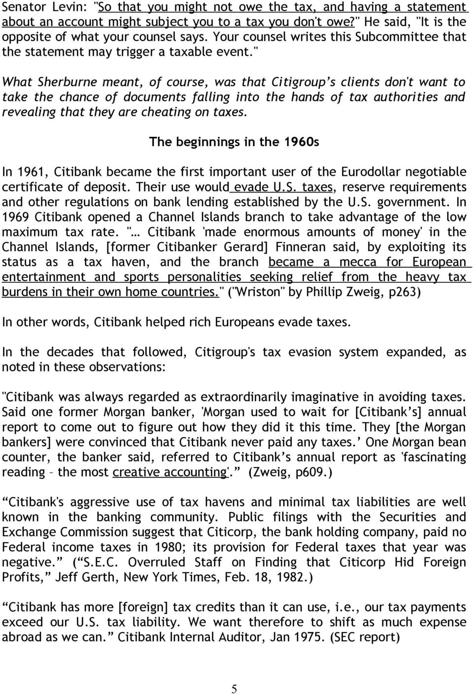 Citigroup A Culture And History Of Tax Evasion Pdf