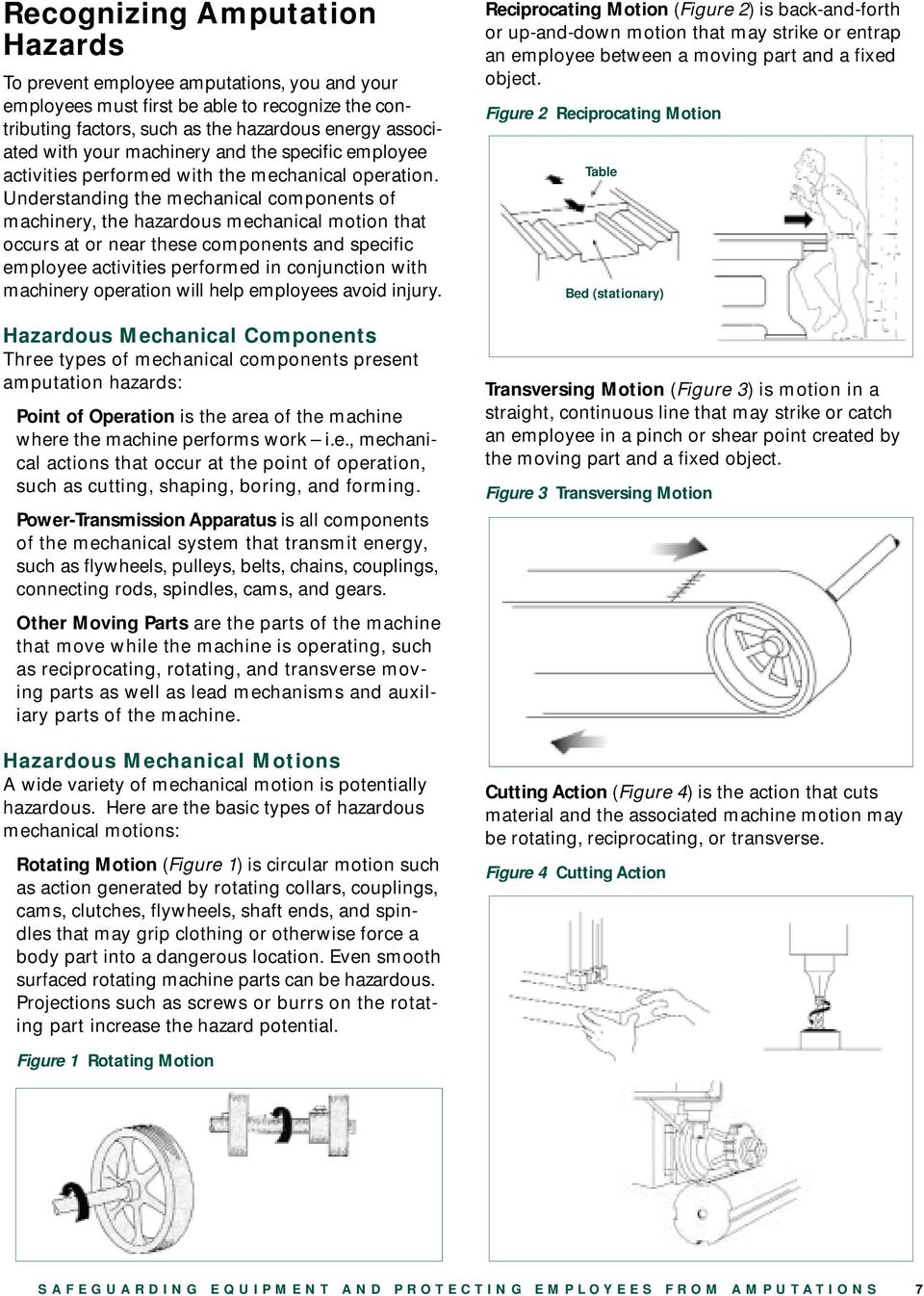 Understanding the mechanical components of machinery, the hazardous mechanical motion that occurs at or near these components and specific employee activities performed in conjunction with machinery