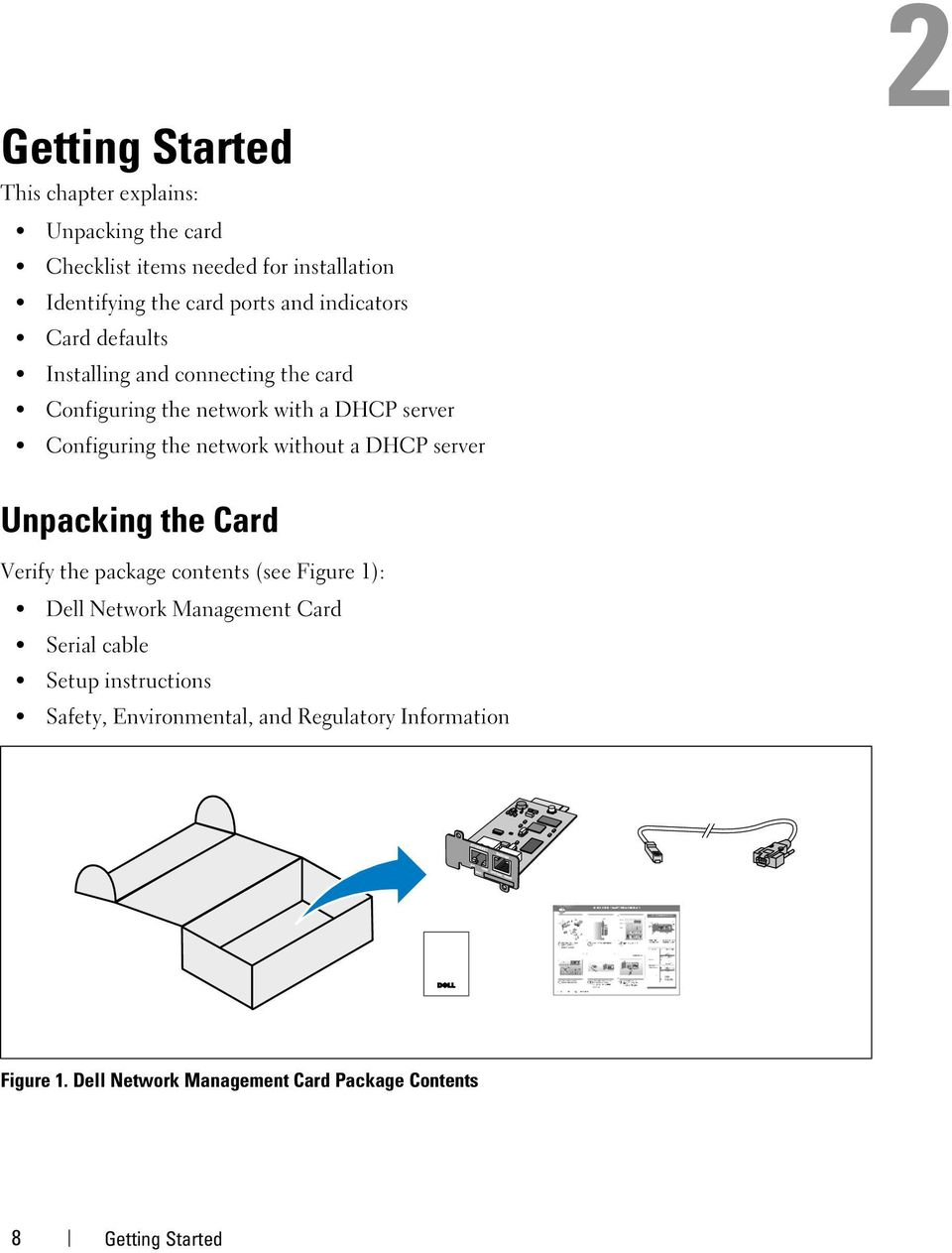 without a DHCP server 2 Unpacking the Card Verify the package contents (see Figure 1): Dell Network Management Card Serial cable