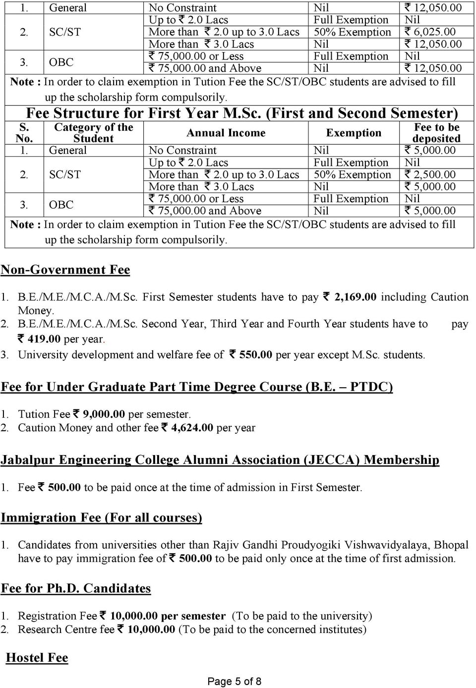Fee Structure for First Year M.Sc. (First and Second Semester) Category of the Student Annual Income Exemption Fee to be deposited 1. General No Constraint Nil ` 5,000.00 Up to ` 2.