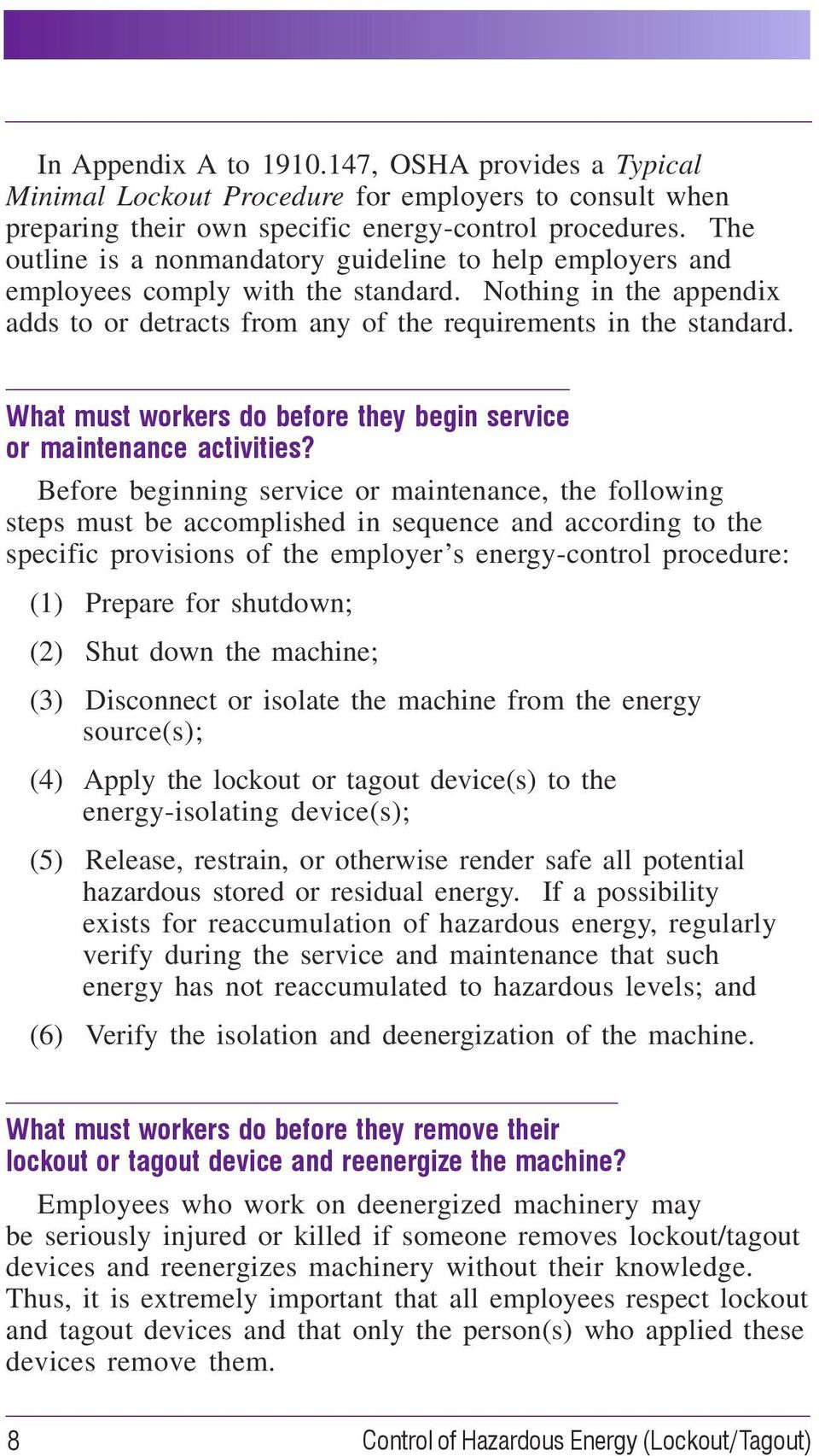 What must workers do before they begin service or maintenance activities?