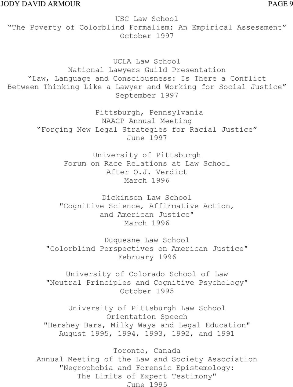 1997 University of Pittsburgh Forum on Race Relations at Law School After O.J.