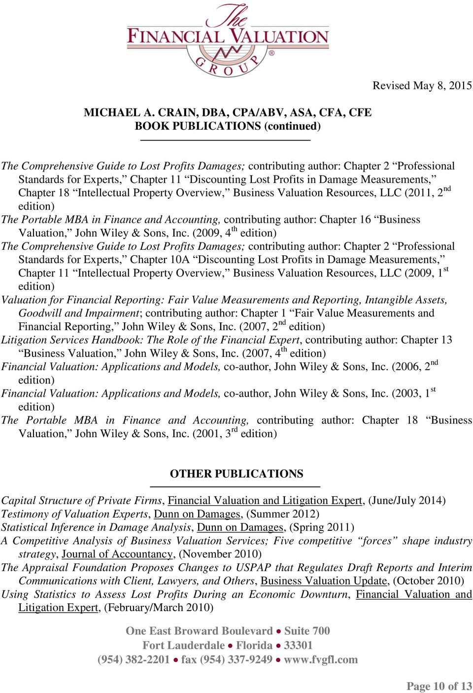 Valuation, John Wiley & Sons, Inc.