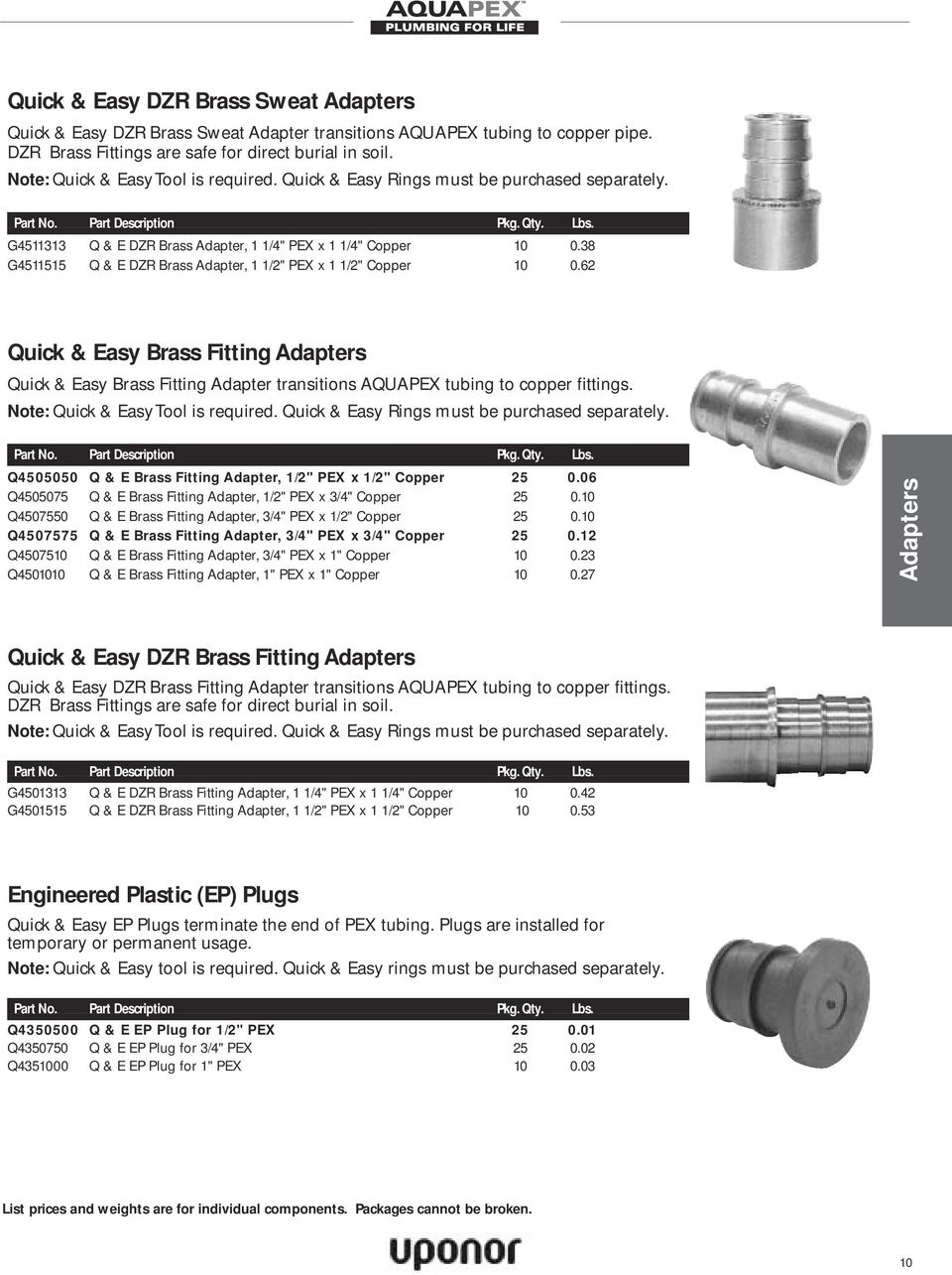 "62 Quick & Easy Brass Fitting Adapters Quick & Easy Brass Fitting Adapter transitions AQUAPEX tubing to copper fittings. Q4505050 Q & E Brass Fitting Adapter, 1/2"" PEX x 1/2"" Copper 25 0."