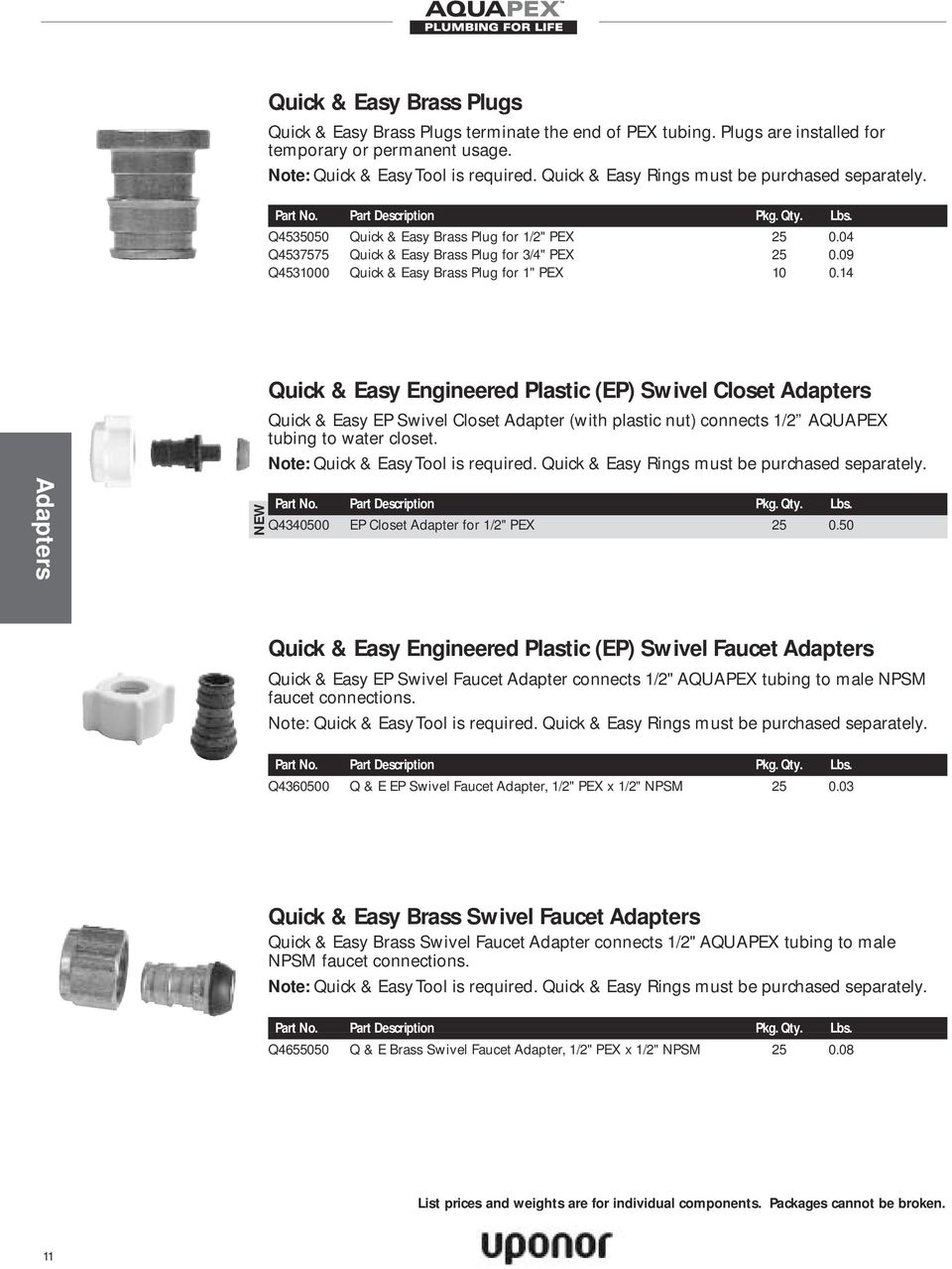 14 Quick & Easy Engineered Plastic (EP) Swivel Closet Adapters Quick & Easy EP Swivel Closet Adapter (with plastic nut) connects 1/2 AQUAPEX tubing to water closet.