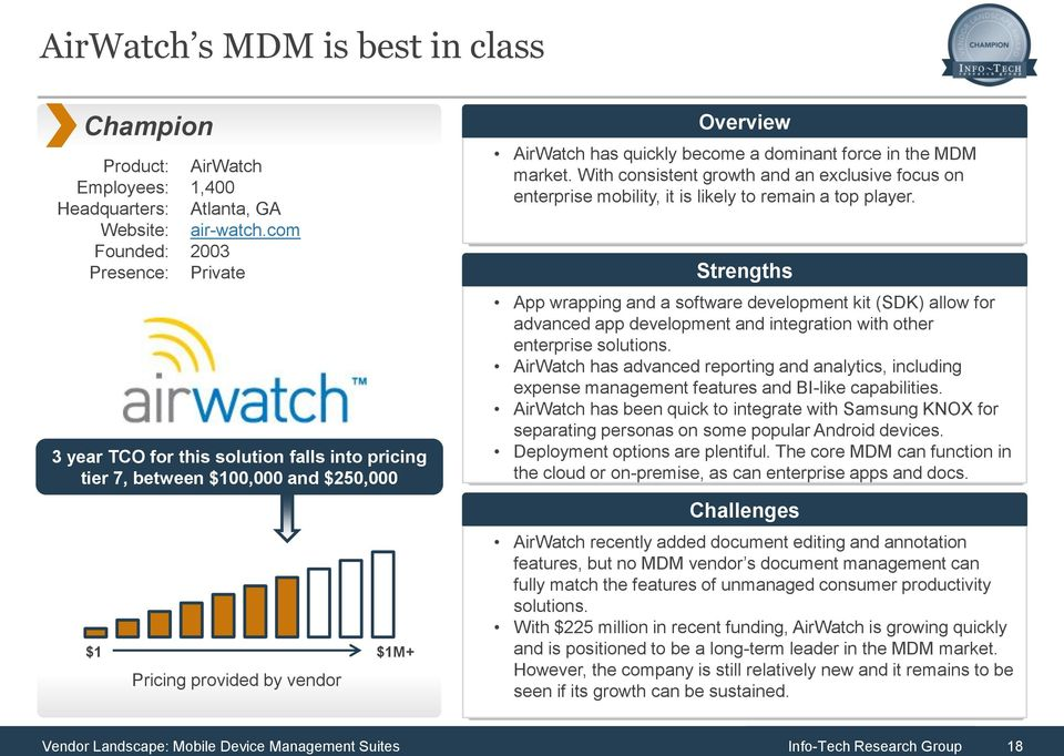 MDM market. With consistent growth and an exclusive focus on enterprise mobility, it is likely to remain a top player.