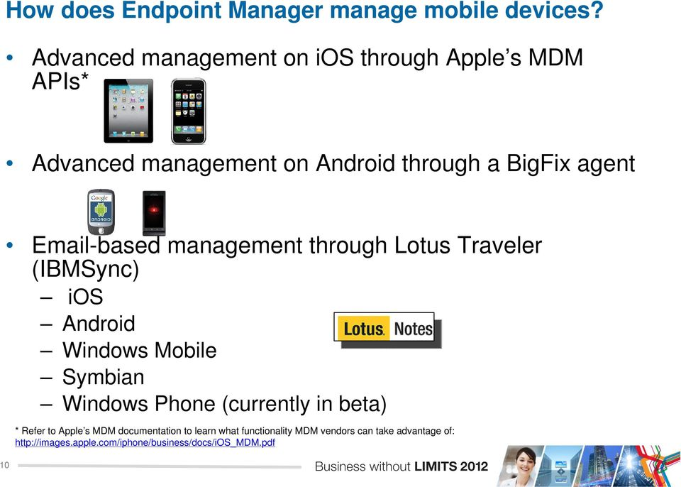 Email-based management through Lotus Traveler (IBMSync) ios Android Windows Mobile Symbian Windows Phone