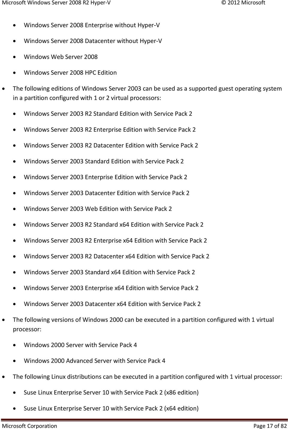 Edition with Service Pack 2 Windows Server 2003 R2 Datacenter Edition with Service Pack 2 Windows Server 2003 Standard Edition with Service Pack 2 Windows Server 2003 Enterprise Edition with Service