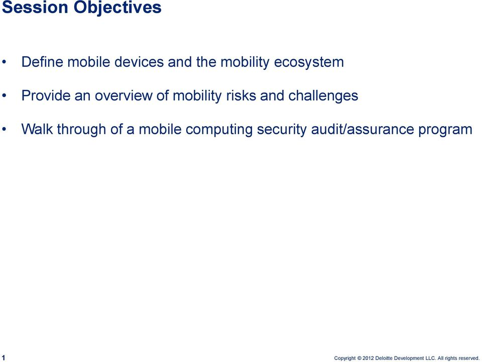 mobility risks and challenges Walk through of a